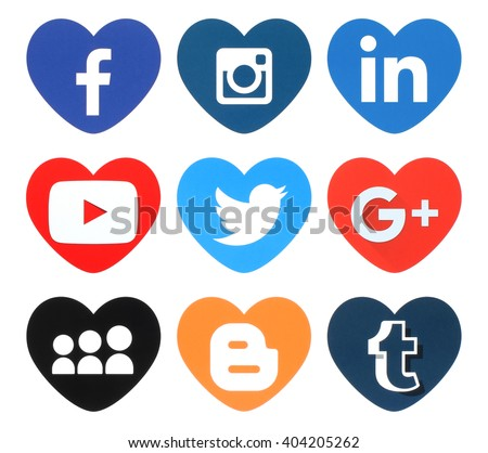 Kiev, Ukraine - April 09, 2016: Collection of popular heart shape social media logos printed on paper:Facebook, Twitter, Google Plus, Instagram, MySpace, LinkedIn, Youtube, Tumblr and Blogger