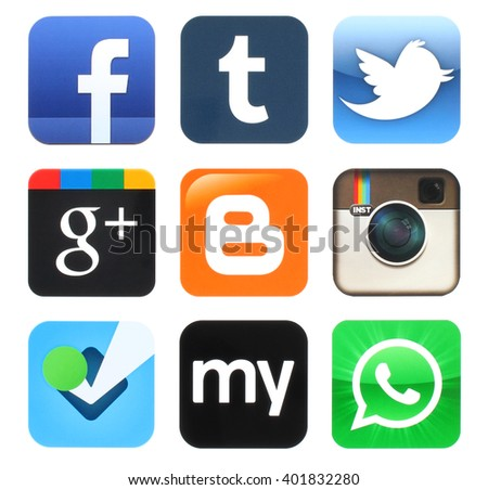 Kiev, Ukraine - April 04, 2016: Collection of popular old social media icons printed on paper:Facebook, Twitter, Google Plus, Instagram, MySpace, Foursquare, WhatsApp, Tumblr and Blogger #401832280