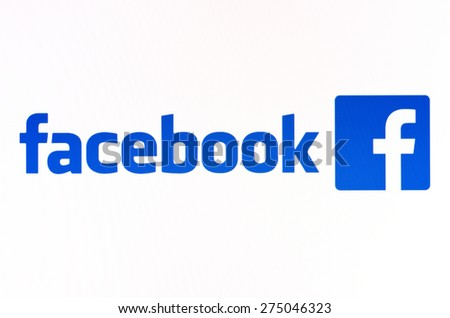 KIEV, UKRAINE - APRIL 23, 2015: Facebook like logo for e-business, web sites, mobile applications, banners on pc screen.  Social network facebook sign on pc sign.