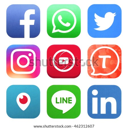 KIEV, UKRAINE - AUGUST 02, 2016: Collection of popular social media logos printed on paper: Facebook, Twitter, Instagram, Tango, Periscope, WhatsApp, Youtube, Line, and LinkedIn #462312607