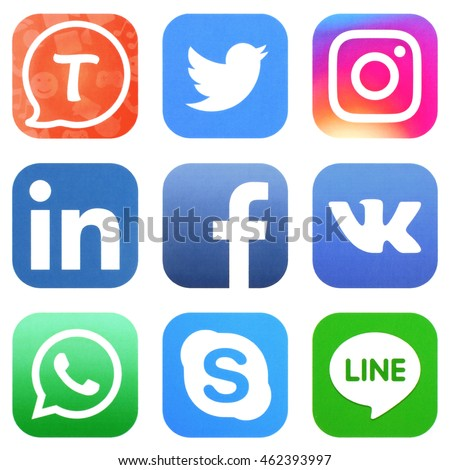 KIEV, UKRAINE - AUGUST 02, 2016: Collection of popular social media logos printed on paper: Facebook, Twitter, Instagram, Tango, Vkontakte, WhatsApp, Skype, Line, and LinkedIn #462393997