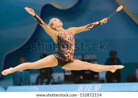 KIEV, UKRAINE - AUGUST 29: Emilie Holte of Norway in action during the 32nd Rhythmic Gymnastics World Championships in Kiev, Ukraine on August 29, 2013