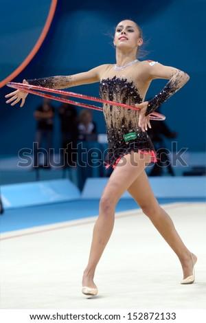 KIEV, UKRAINE - AUGUST 28: Margarita Mamun of Russia in action during the 32nd Rhythmic Gymnastics World Championships in Kiev, Ukraine on August 28, 2013