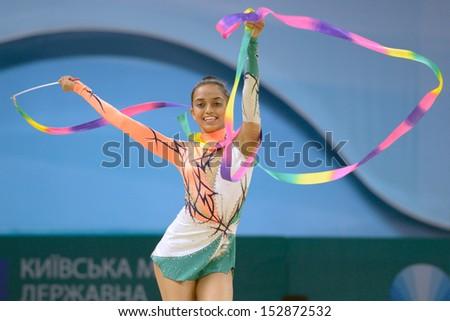 KIEV, UKRAINE - AUGUST 29: Nishtha Shah of India in action during the 32nd Rhythmic Gymnastics World Championships in Kiev, Ukraine on August 29, 2013