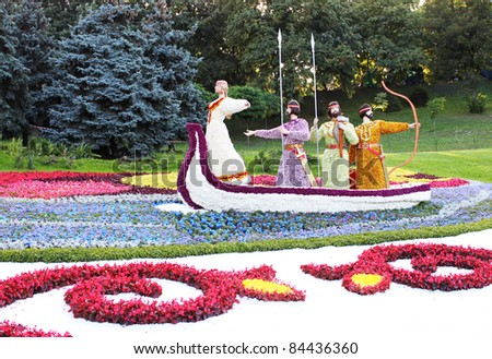 "KIEV, UKRAINE - AUGUST 20: On August 20th at ""Spevoche pole"" in Kiev opened a traditional 56 flower exhibition timed to the Independence Day, celebrated on August 24, 2011 in Kiev, Ukraine"