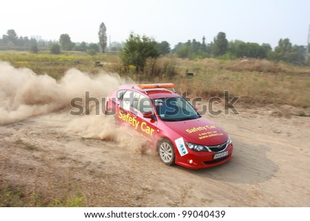 KIEV, UKRAINE - AUGUST 15: Red Safety car B Subaru WRX at the 5-th stage of the championship of Ukraine \