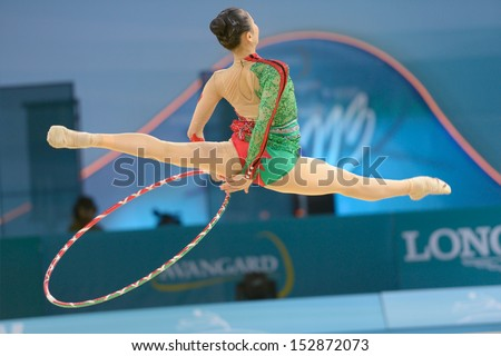 KIEV, UKRAINE - AUGUST 28:  Senyue Deng of China in action during the 32nd Rhythmic Gymnastics World Championships in Kiev, Ukraine on August 28, 2013