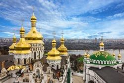 Kiev, Ukraine. Cupolas of Pechersk Lavra Monastery and river Dniepr panoramic city view