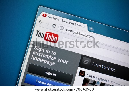 KIEV, UKRAINE - DEC 1: Google Inc officially released a brand new design of the YouTube homepage on Dec 1, 2011.  YouTube was founded on February 14, 2005.