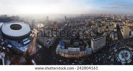 Kiev, Ukraine, December 14, 2014. Aerial panorama of Kiev city