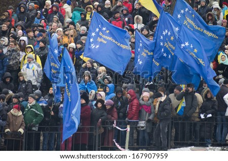 KIEV, UKRAINE - DECEMBER 9:anti government protesters keeps on their protests in Maydan square on December 9, 2013 in Kiev, Ukraine.