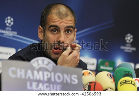 KIEV, UKRAINE - DECEMBER 8: FC Barcelona head coach Josep Guardiola attends a press-conference before UEFA Champions League football match against FC Dynamo Kyiv on December 8, 2009 in Kiev, Ukraine.