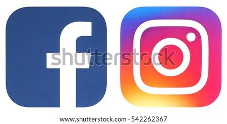 Kiev, Ukraine - DECEMBER 24, 2016: Popular social media logos Facebook and Instagram printed on paper.