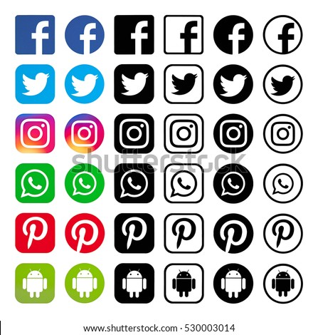 Kiev, Ukraine - December 05, 2016: Set of most popular social media black logos: Facebook, Twitter, Pinterest, Instagram, WhatsApp, Android printed on paper.