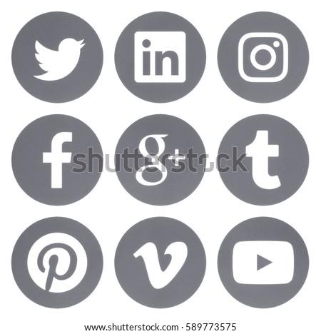 Kiev, Ukraine - Febraury 28, 2017: Collection of round popular social media grey logos printed on paper: Facebook, Twitter, Google Plus, Instagram, Pinterest, LinkedIn, Vimeo, Tumblr and Youtube