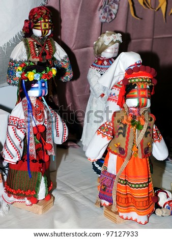 KIEV, UKRAINE - FEBRUARY 26: A series of four collectible Ukrainian folk dolls on display at the Fashion Doll International exhibit on February 26, 2012 in Kiev, Ukraine.