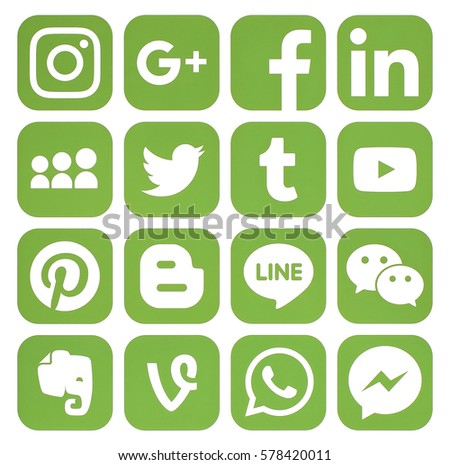 Kiev, Ukraine - February 07, 2017: Collection of popular greenery social media icons printed on paper: Facebook, Twitter, Google Plus, Instagram, Pinterest, LinkedIn, Blogger, Tumblr and others