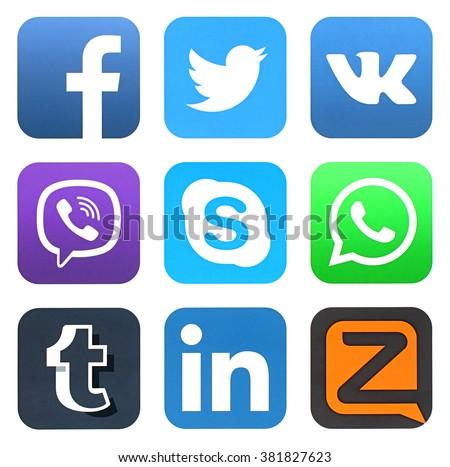 KIEV, UKRAINE - FEBRUARY 23, 2016: Collection of popular social media logos printed on paper: Facebook, Twitter, VKontakte, Viber, Skype, WhatsApp, Tumblr, LinkedIn, and Zello #381827623
