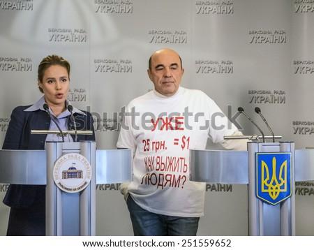 KIEV, UKRAINE - February 10, 2015: Deputies Natalia Korlevskaya and Vadim Rabinovich, opposition bloc