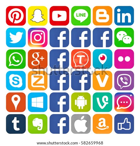 Kiev, Ukraine - February 10, 2017: Set of most popular social media icons: Pinterest, Twitter, YouTube, WhatsApp, Snapchat, Facebook,Skype, Instagram, Android,Flickr, and others logos printed on paper