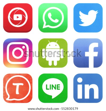 KIEV, UKRAINE - JANUARY 05, 2017: Collection of popular social media logos printed on paper: Facebook, Twitter, LinkedIn, Instagram, Tango, WhatsApp, Youtube, Line and Android #552830179