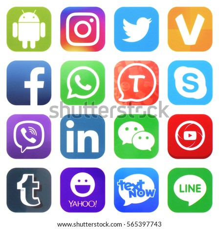KIEV, UKRAINE - JANUARY 27, 2017: Collection of popular social media logos printed on paper: Facebook, Twitter, LinkedIn, Instagram, Tango, WhatsApp, Youtube, Line and other #565397743