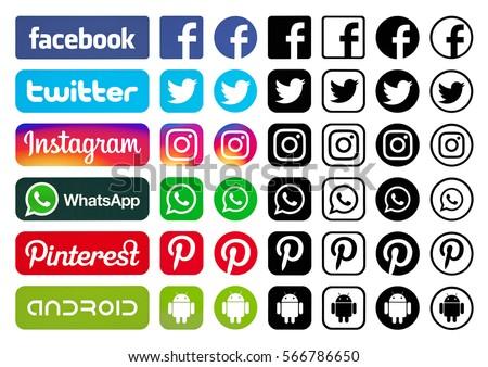 Kiev, Ukraine -  January 19, 2017: Set of most popular social media black logos: Facebook, Twitter, Pinterest, Instagram, WhatsApp, Android printed on paper.