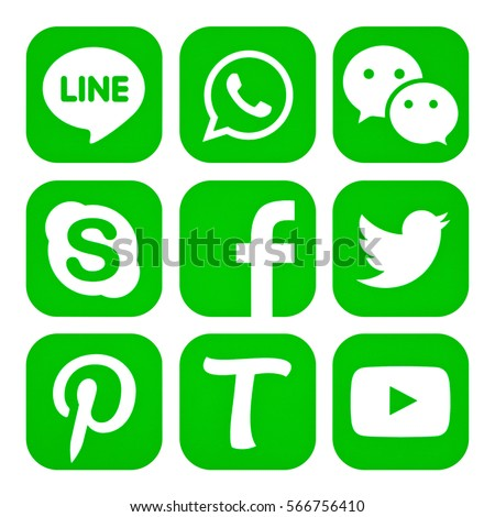 Kiev, Ukraine - January 22, 2017: Set of popular social media icons printed on white paper: Facebook, Twitter, Skype, Tango, Youtube, Pinterest, WhatsApp, Line, Wechat. #566756410