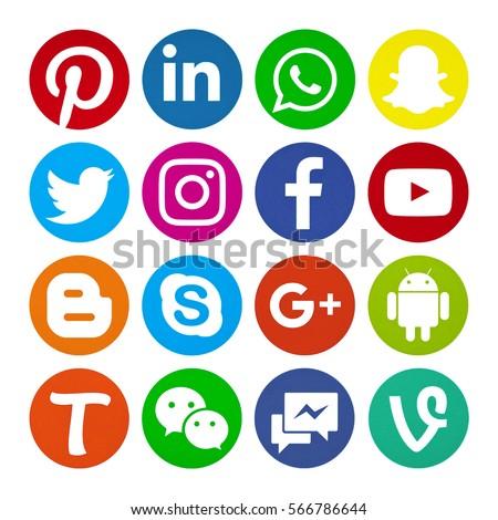Kiev, Ukraine - January 29, 2017: Set of popular social media icons printed on white paper: Facebook,Instagram, Snapchat, LinkedIn, Twitter, Skype, Tango, Youtube, Pinterest, WhatsApp, Line, Wechat.