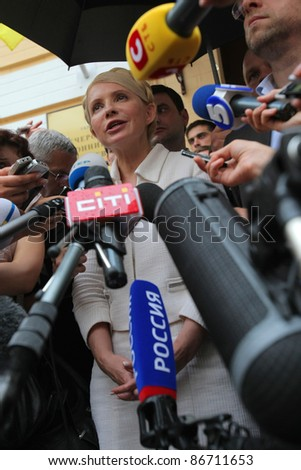 KIEV, UKRAINE - JUL 24: Former Prime of Ukraine Yulia Tymoshenko and journalists in Kiev Pechersk court. Convicted of abuse of power in contracting for gas supplies., Jul. 24, 2011 in Kiev, Ukraine.