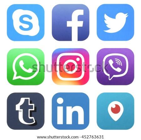 KIEV, UKRAINE - JULY 15, 2016: Collection of popular social media logos printed on paper: Facebook, Twitter, Instagram, Viber, Skype, WhatsApp, Tumblr, LinkedIn, and Periscope #452763631