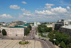 Kiev, Ukraine - July 13, 2014: The view of Sophia square, monument to Hetman Bohdan Khmelnytsky and St. Michael's Golden-Domed Monastery from the Saint Sophia Cathedral bell tower in sunny day.