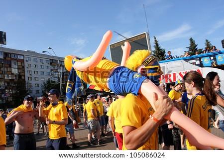 Kiev ukraine june 11 fans of the swedish national football team