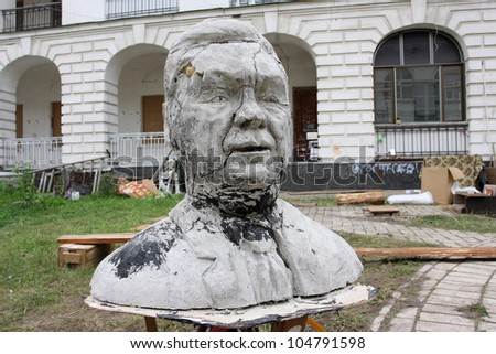 KIEV, UKRAINE - JUNE 8: Funny sculpture of the Ukrainian president Viktor Yanukovych made by the ukrainian students on June 8, 2012, in Kiev, Ukraine. Yanukovych won the 2010 Presidential election.