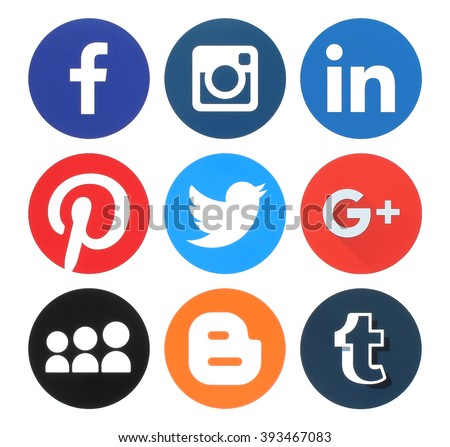 Kiev, Ukraine - March 18, 2016: Collection of popular round social media logos printed on paper:Facebook, Twitter, Google Plus, Instagram, MySpace, LinkedIn, Pinterest, Tumblr and Blogger #393467083
