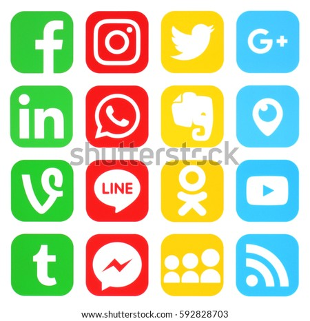 Kiev, Ukraine - MARCH 04, 2017: multicolored of popular social media icons printed on white paper: Facebook,Instagram, Google Plus, Twitter, Youtube, WhatsApp and other