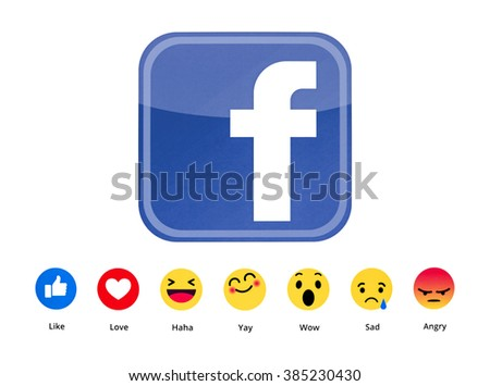 Kiev, Ukraine - March 2, 2016: New Facebook like button 6 Empathetic Emoji. Printed on paper. Facebook is an online social networking service.