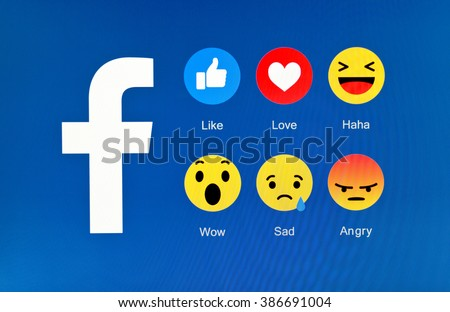 Kiev, Ukraine - March 2, 2016: New Facebook like button 6 empathetic emoji reactions . New emojis as Alternatives to the Like button on pc screen. Social network facebook sign on pc sign.