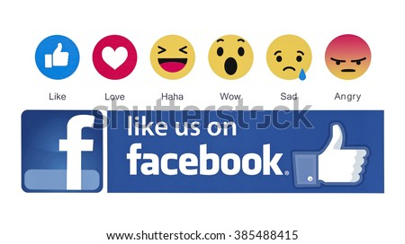 Kiev, Ukraine - March 3, 2016: New Facebook like button 6 Empathetic Emoji reactions  printed on paper. New emojis as Alternatives to the like button.  Facebook is a known social networking service.