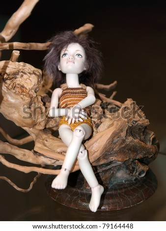 KIEV, UKRAINE - MAY 22: A collectible doll, which resembles a brown pixie, is on display at the Kyiv Fairy Tale exhibit in the 2nd annual International Doll Salon on May 22, 2011 in Kiev, Ukraine.