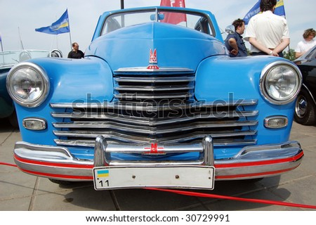 KIEV, UKRAINE - MAY 22: A  POBEDA Soviet  car is shown at an exhibition of retro cars at the Auto Show 2009 on May 22, 2009 in Kiev. The show took place from May 22-24.