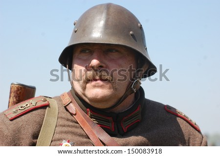 KIEV, UKRAINE - MAY 11 : An unidentified member of Red Star history club wears historical Bulgarian uniform during historical reenactment of WWII on May 11, 2013 in Kiev, Ukraine