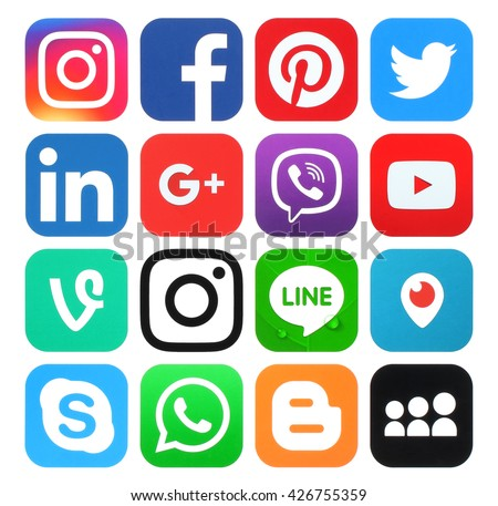 Kiev, Ukraine - May 26, 2016: Collection of popular social media logos printed on paper:Facebook, Twitter, Google Plus, Instagram, LinkedIn, Pinterest, Vine, Youtube and others
