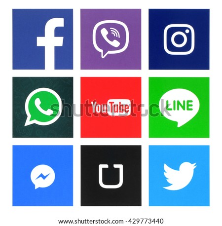 Kiev, Ukraine - May 31, 2016: Collection of popular windows icons printed on paper:Facebook, Twitter, Instagram, Line, Youtube, Viber, Whatsapp, Messenger and Uber #429773440