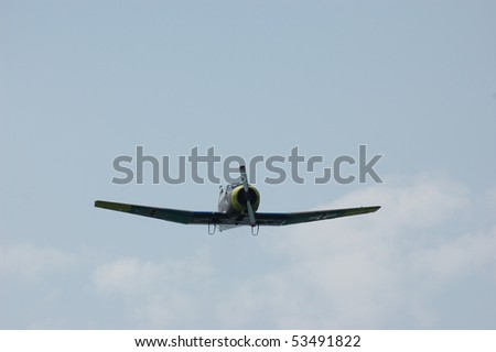 KIEV, UKRAINE - MAY 10 : German military airplane (imitation) during historical reenactment of 1945 WWII, May 10, 2010 in Kiev, Ukraine. - stock photo