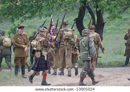 KIEV, UKRAINE - MAY 10 : members of Red Star history club wear historical British&US uniforms during participation in 1945 WWII reenactment May 10, 2010 in Kiev, Ukraine.