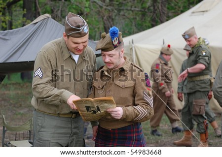 KIEV, UKRAINE - MAY 10 : members of Red Star history club wears historical British&US uniforms during participation in 1945 WWII reenactment May 10, 2010 in Kiev, Ukraine