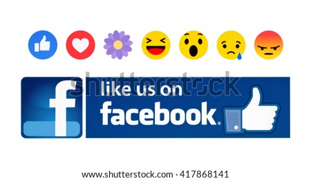 Kiev, Ukraine - May 09, 2016:New Facebook like button Empathetic Emoji Reactions in the form of a likes and his name is THANKFUL on pc screen. Facebook is a known social networking service.