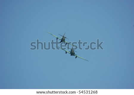 KIEV, UKRAINE - MAY 10 : Soviet military airplanes (imitation) during historical reenactment of 1945 WWII, May 10, 2010 in Kiev, Ukraine - stock photo