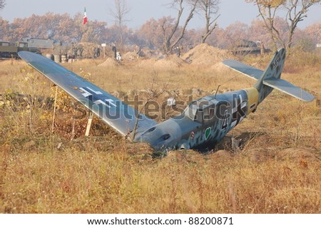 KIEV, UKRAINE -NOV 6: German military airplane Bf-109 (replica) during historical reenactment of 1941 WWII, November 6, 2011 in Kiev, Ukraine